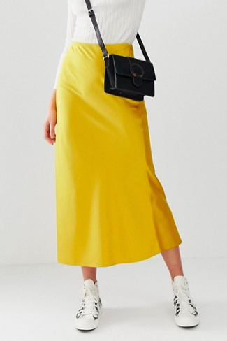 ASOS DESIGN Tall bias cut satin midi skirt