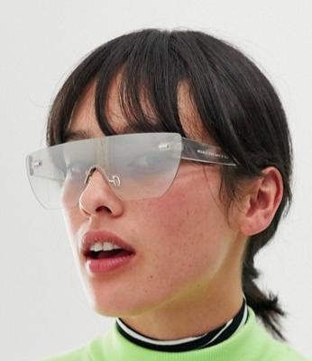 ASOS DESIGN visor sunglasses in clear flash frame