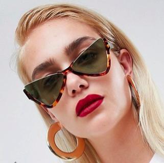 ASOS DESIGN half frame plastic butterfly diamond sunglasses