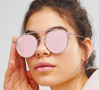 ASOS DESIGN high bar round sunglasses in pink with rose gold flash lens
