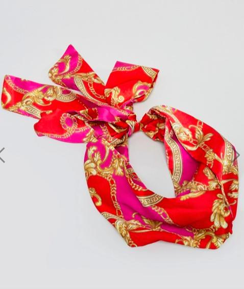 ASOS DESIGN twist block bright chain print headscarf