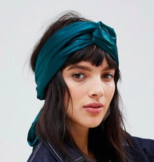 ASOS DESIGN twist block headscarf in emerald green