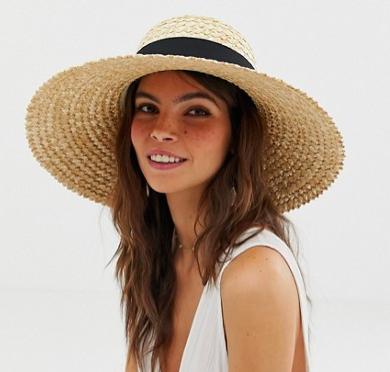 ASOS DESIGN curve crown flat brim natural straw hat