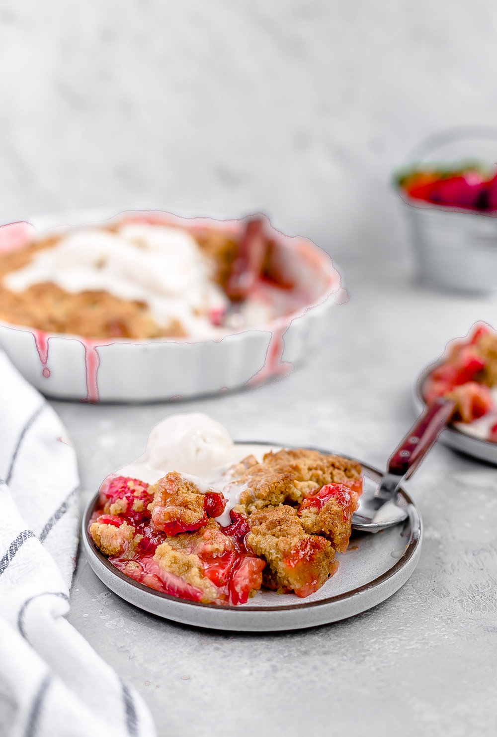 Dairy-Free Strawberry Cobbler: juicy, tangy strawberries topped with a tender, flavorful brown sugar cobbler dough.  So easy! | TrufflesandTrends.com