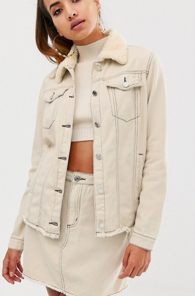 Missguided two-piece denim jacket with fleece collar and contrast stitch in ecru