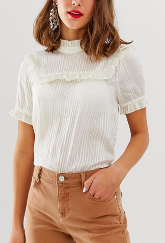 Vero Moda aware high neck micro ruffle blouse