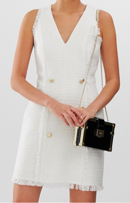 River Island boucle shift dress in ivory