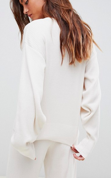 ASOS DESIGN premium lounge knitted dropped sleeve sweat