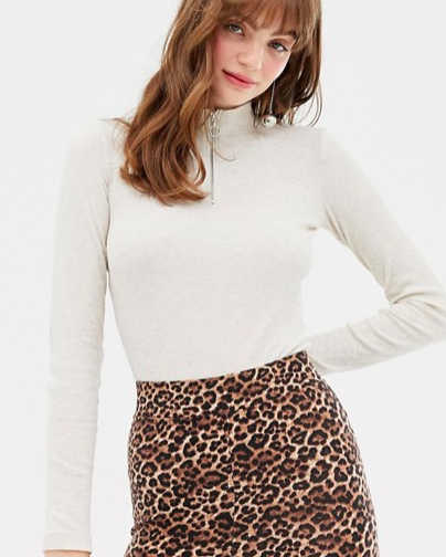 Monki zip neck long sleeved top in oatmeal melange