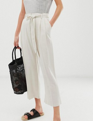 ASOS DESIGN linen touch culottes with tie waist and turn up