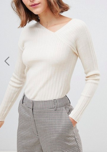 ASOS DESIGN asymmetic skinny rib sweater in eco yarn