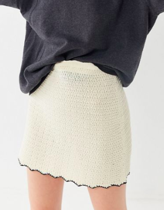UO Serendipity Scalloped Mini Skirt
