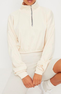 PLT CREAM RIB ZIP FRONT LONG SLEEVE SWEATER
