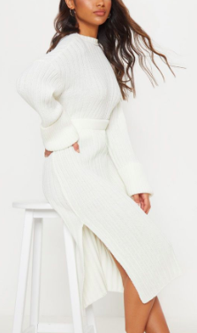 PLT CREAM RIBBED KNITTED MIDI SKIRT