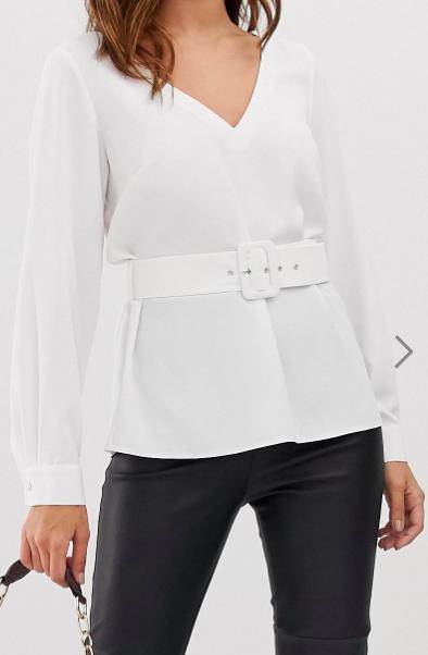 ASOS DESIGN long sleeve v neck plunge top with belt