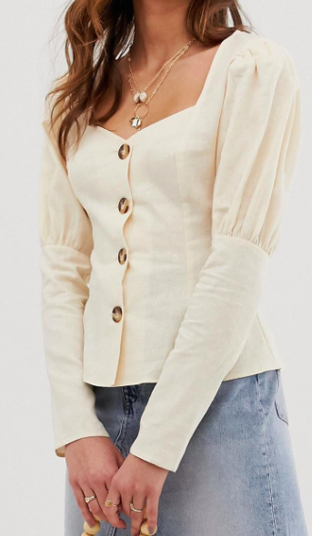 ASOS DESIGN long sleeve sweetheart neck top in linen mix with contrast buttons
