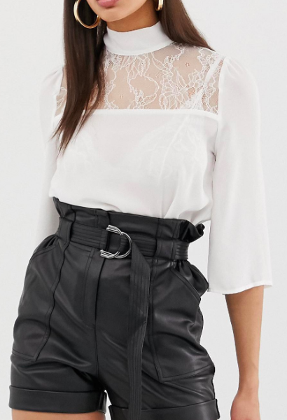 Fashion Union high neck top with lace panel