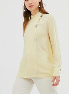 Mango asymmetric collar fasten blouse in Yellow