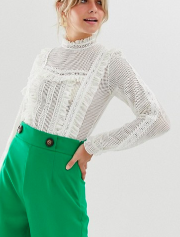 Miss Selfridge blouse with frill neck in white lace