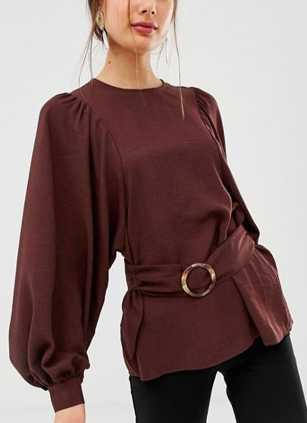 ASOS DESIGN oversized long sleeve top with belt detail