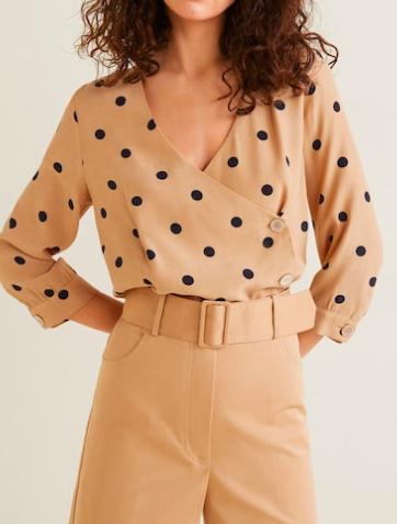 Mango Polka dot cross blouse