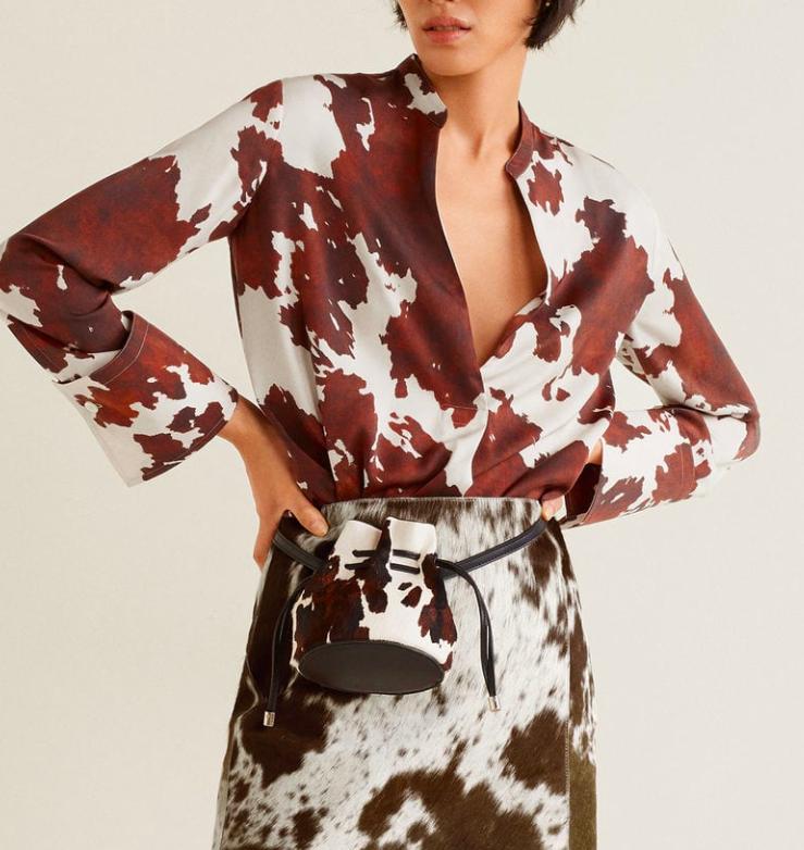 Mango Cow print blouse