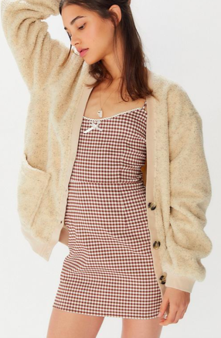 UO Teddy Button-Front Sweater Jacket