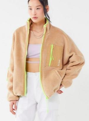 iets frans… Fleece Neon Trim Zip-Front Jacket