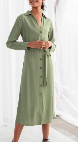 Stories Belted Button Up Midi Dress