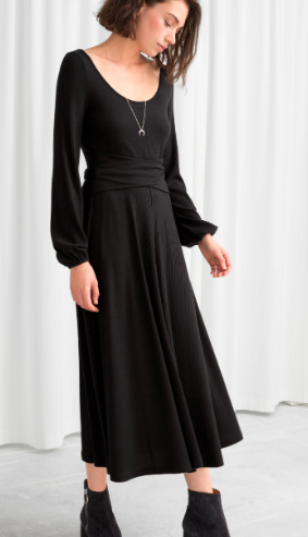 Stories Ribbed Cross Belted Midi Dress