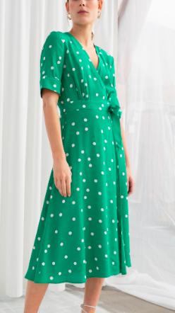 Stories Polka Dot Midi Wrap Dress