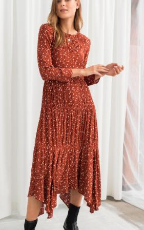 Long Sleeve Ruffle Tier Midi Dress