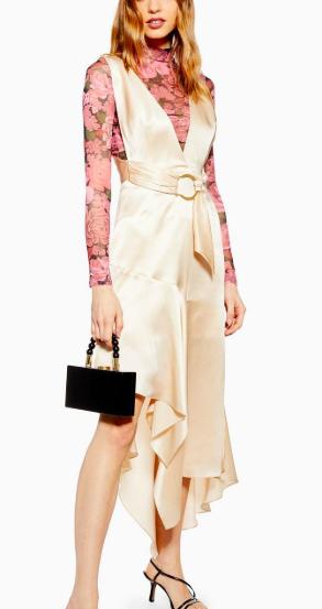 Topshop Plain Scarf Pinafore Dress