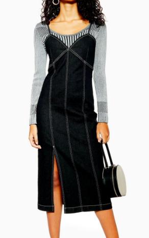 Topshop Stretch Denim Midi Dress