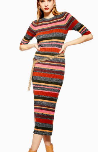 Topshop Knitted Stripe Dress