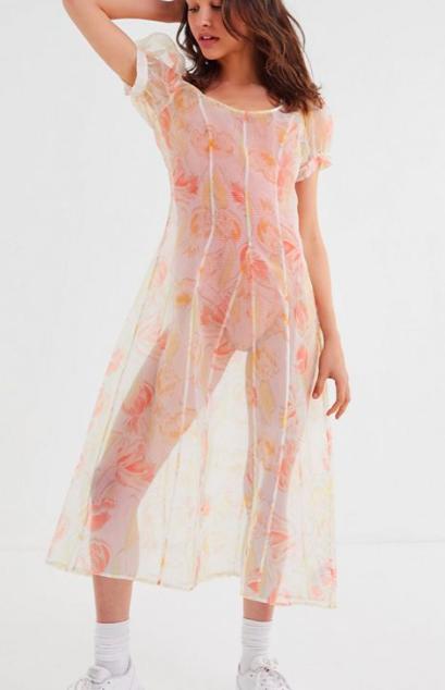 UO Este Sheer Organza Puff Sleeve Midi Dress