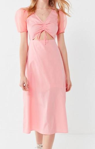 UO Organza Puff Sleeve Cinched Midi Dress