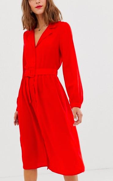 Vero Moda midi shirt dress with fabric covered belt