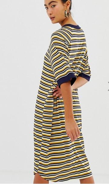 Monki oversized t-shirt dress in multi stripe