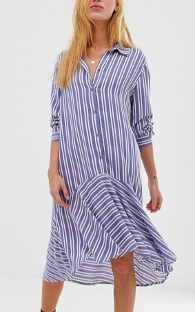 JDY stripe button through midi dress