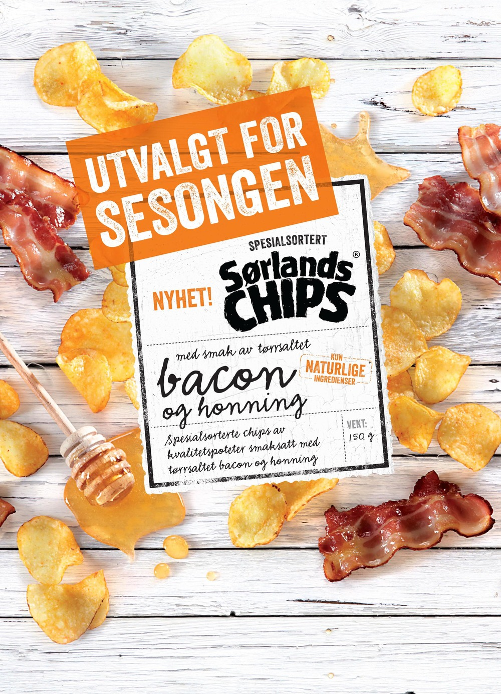 Sørlandschips, bacon and honey.