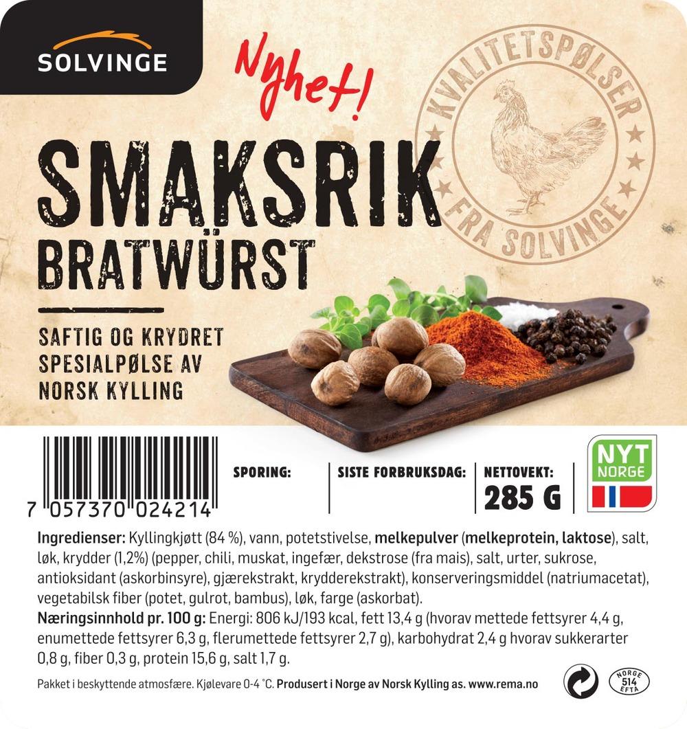 Smaksrik bratwurst, Solvinge