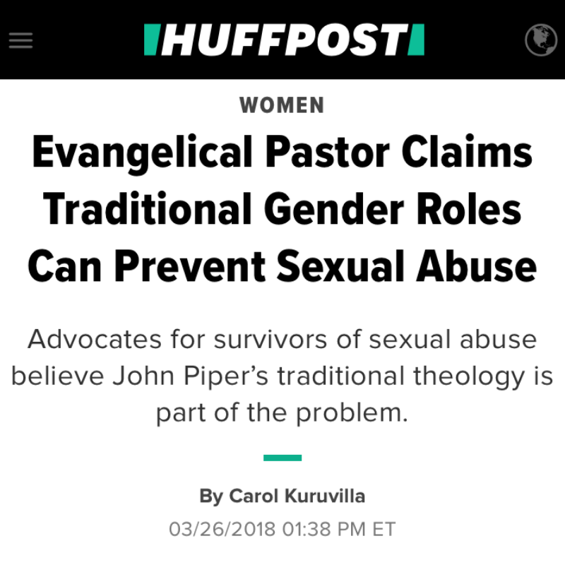 Evangelical Pastor Claims Traditional Gender Roles Can Prevent Sexual Abuse