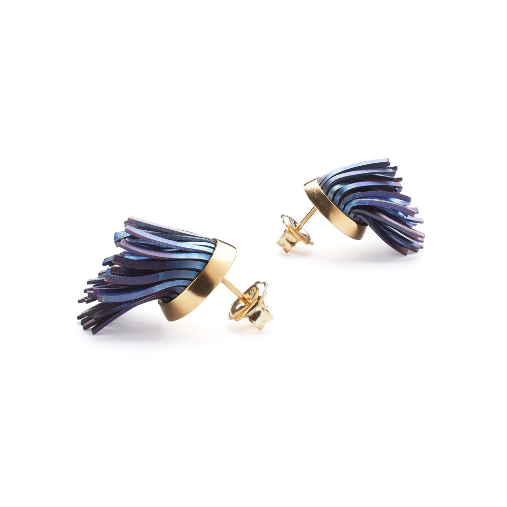 Windswept Earrings, Titanium, gold plated silver.