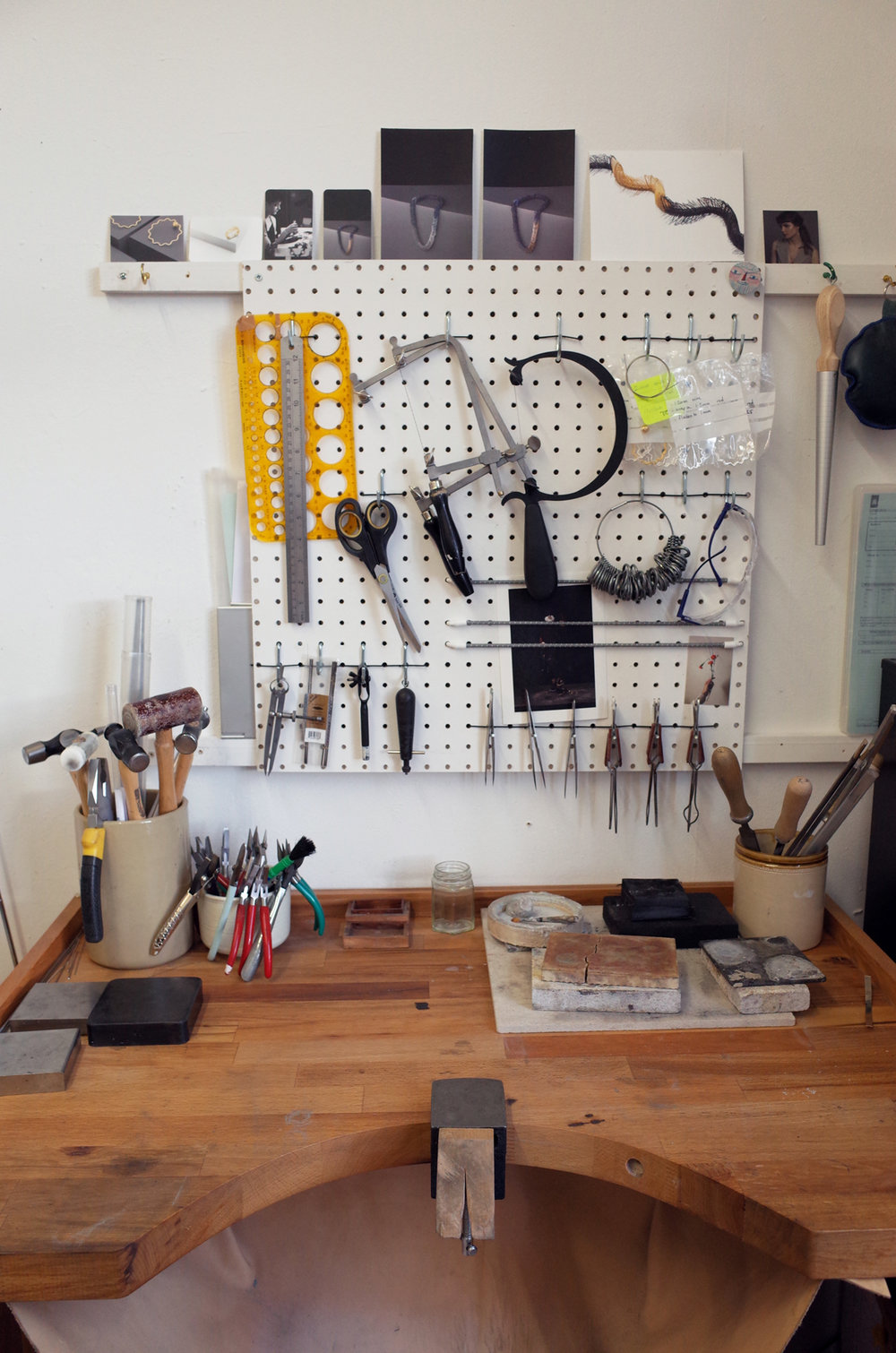 Each of my tools has a specific place, organised with the most often used within arms reach.