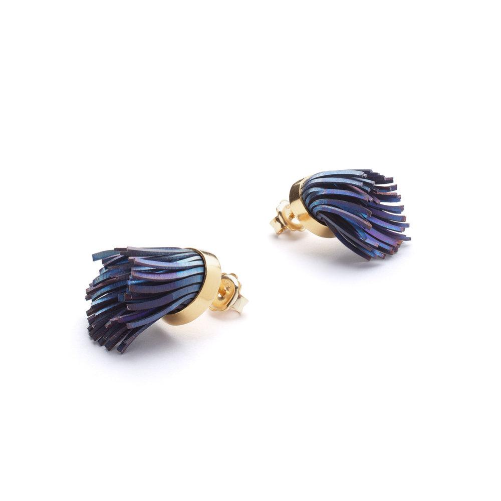 Windswept Earrings, Titanium, gold vermeil.