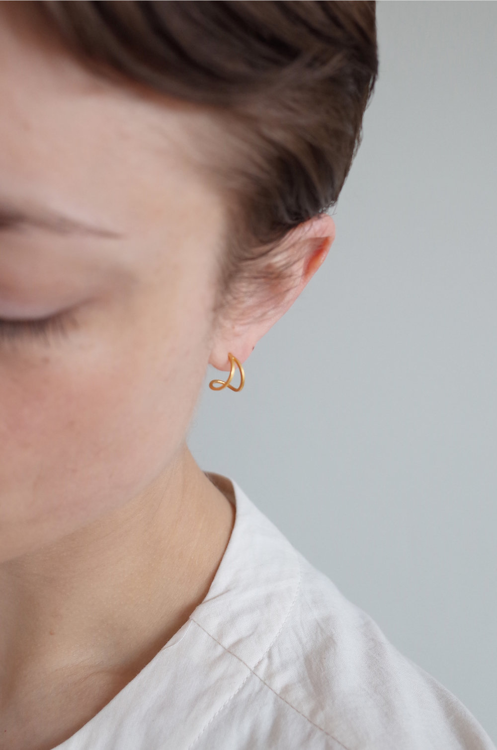Teardrop hoops in gold plated silver