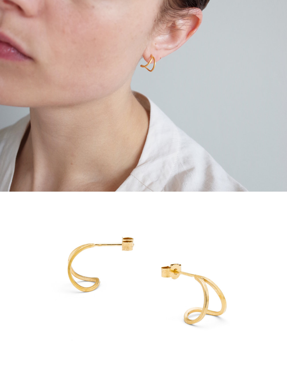 Teardrop hoops in gld plated silver.  The perfect everyday earring.