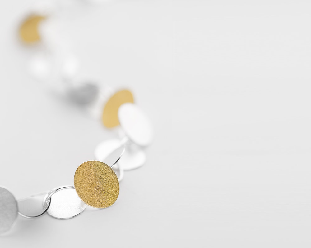 Bold Rhythm necklace   Silver and fine gold bi-metal