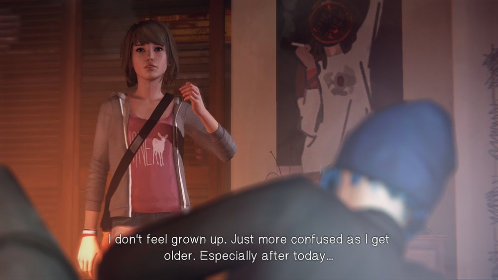 "A screencap of Max and Chloe talking, with the text: ""I don't feel grown up. Just more confused as I get older. Especially after today..."""
